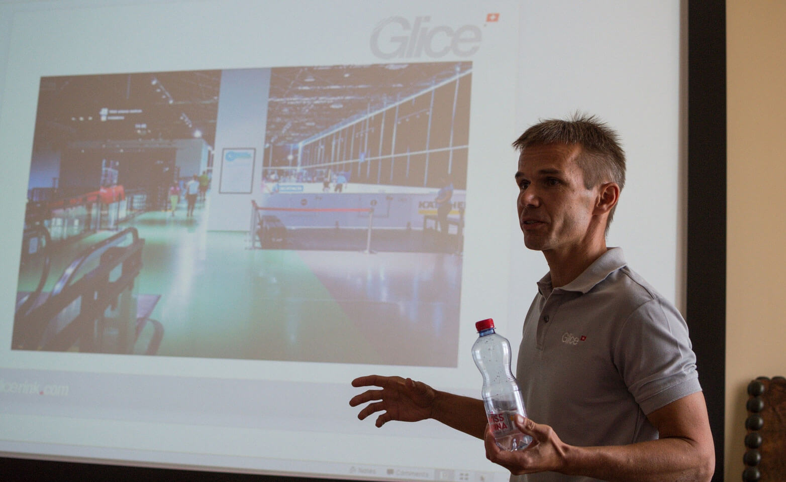 A best practice presentation during Glice synthetic ice rink summit