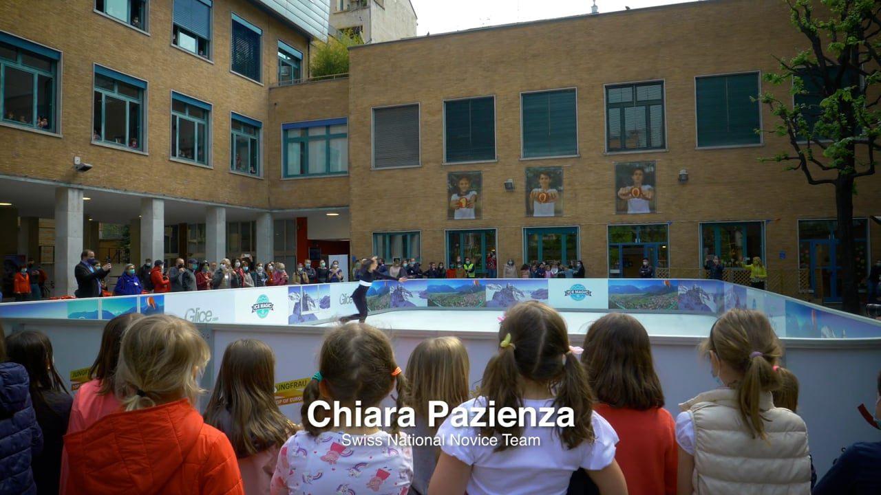 Alle ogen gericht op Glice kunststof schaatsbaan in de Zwitserse school te Milaan