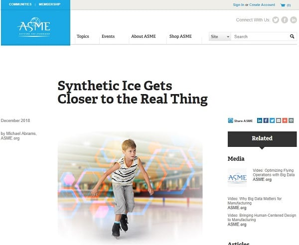 American Society of Mechanical Engineers (ASME) Publishes Article on Glice® Synthetic Ice Rinks