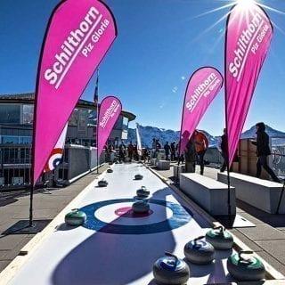 Artificial Eisstock curling track at James Bond movie location Schilthorn