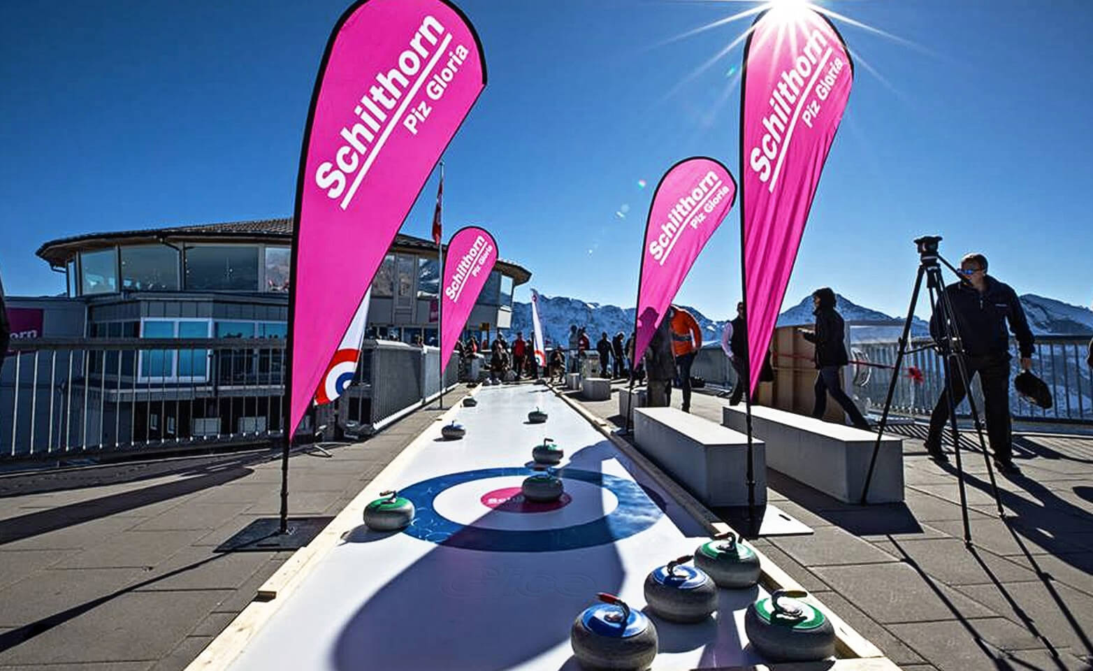 Artificial Eisstock curling track at James Bond movie location Schilthorn