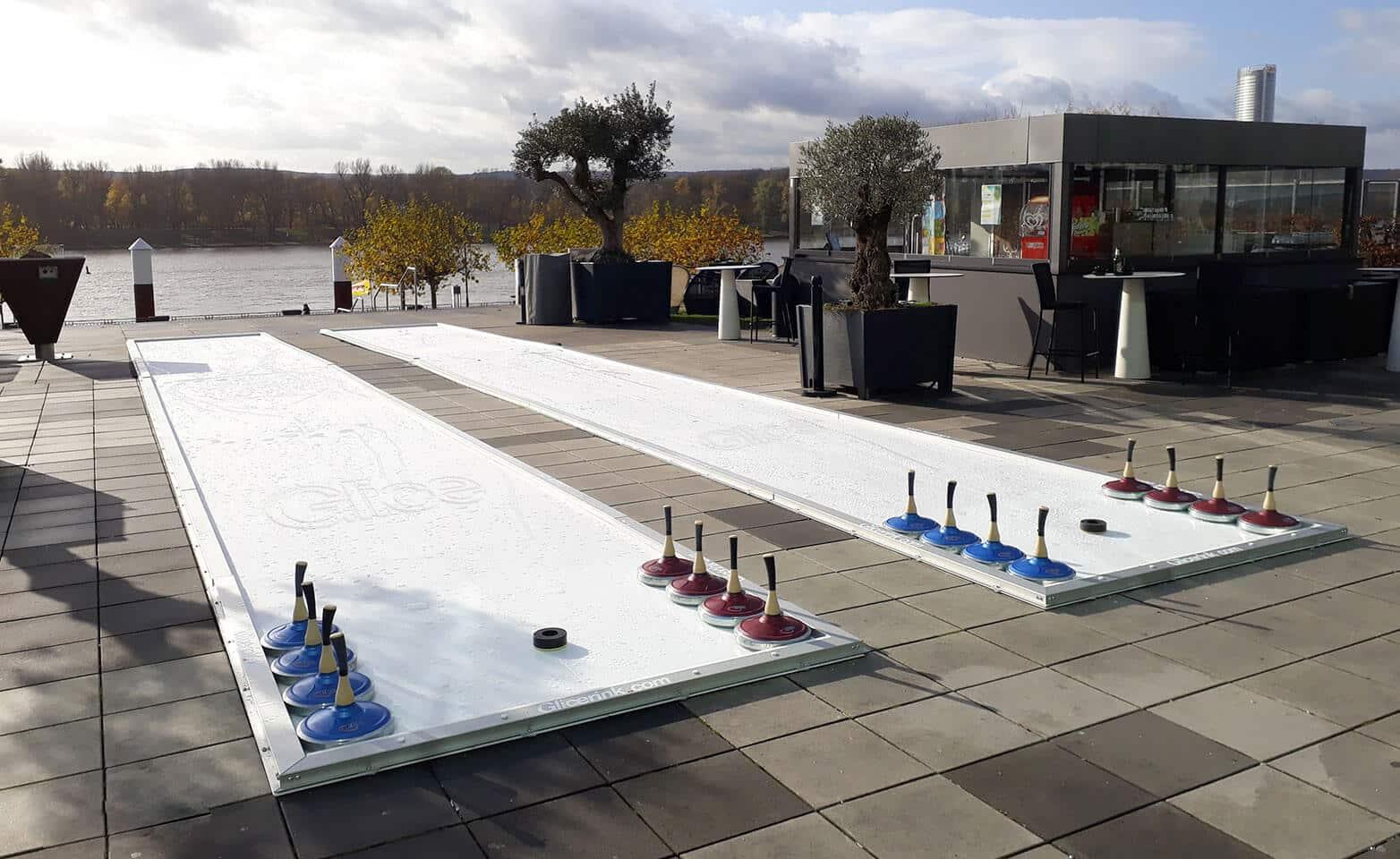 Artificial Eisstock tracks at German 5 Star Hotel Kameha in Bonn
