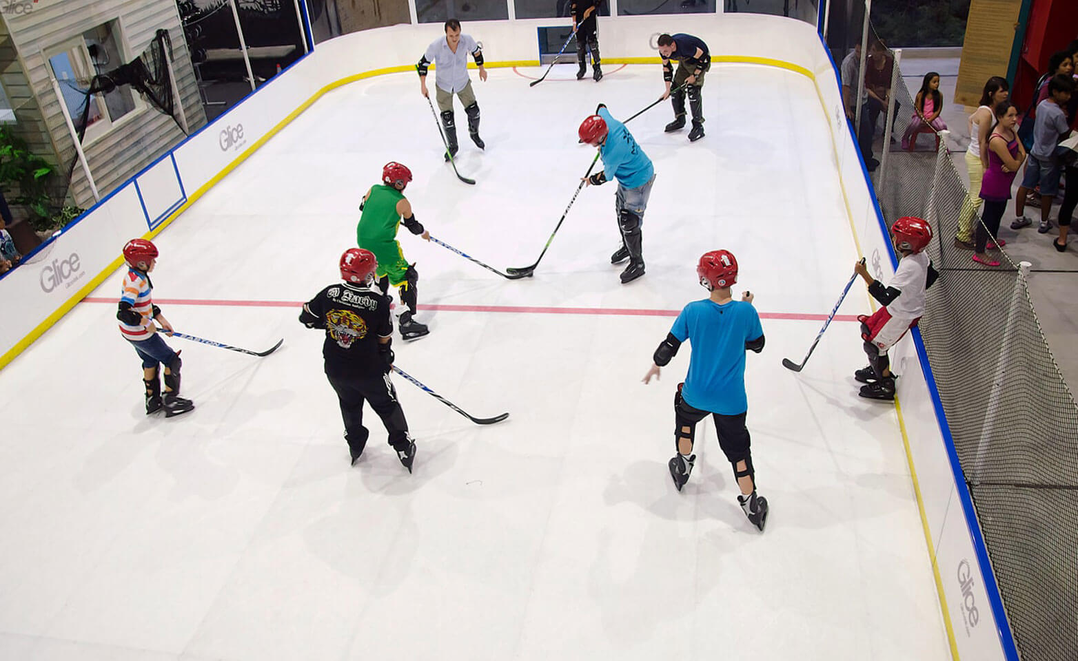 Bird's eye view onto synthetic ice rink mini arena