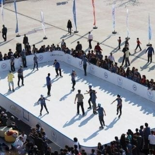 Birds eye view onto synthetic ice rink in Turkey