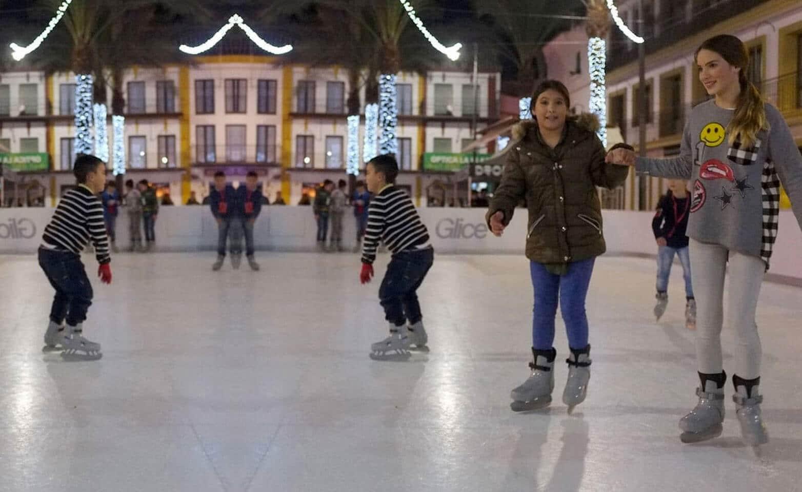 Christmas season on a plastic ice rink in Spain