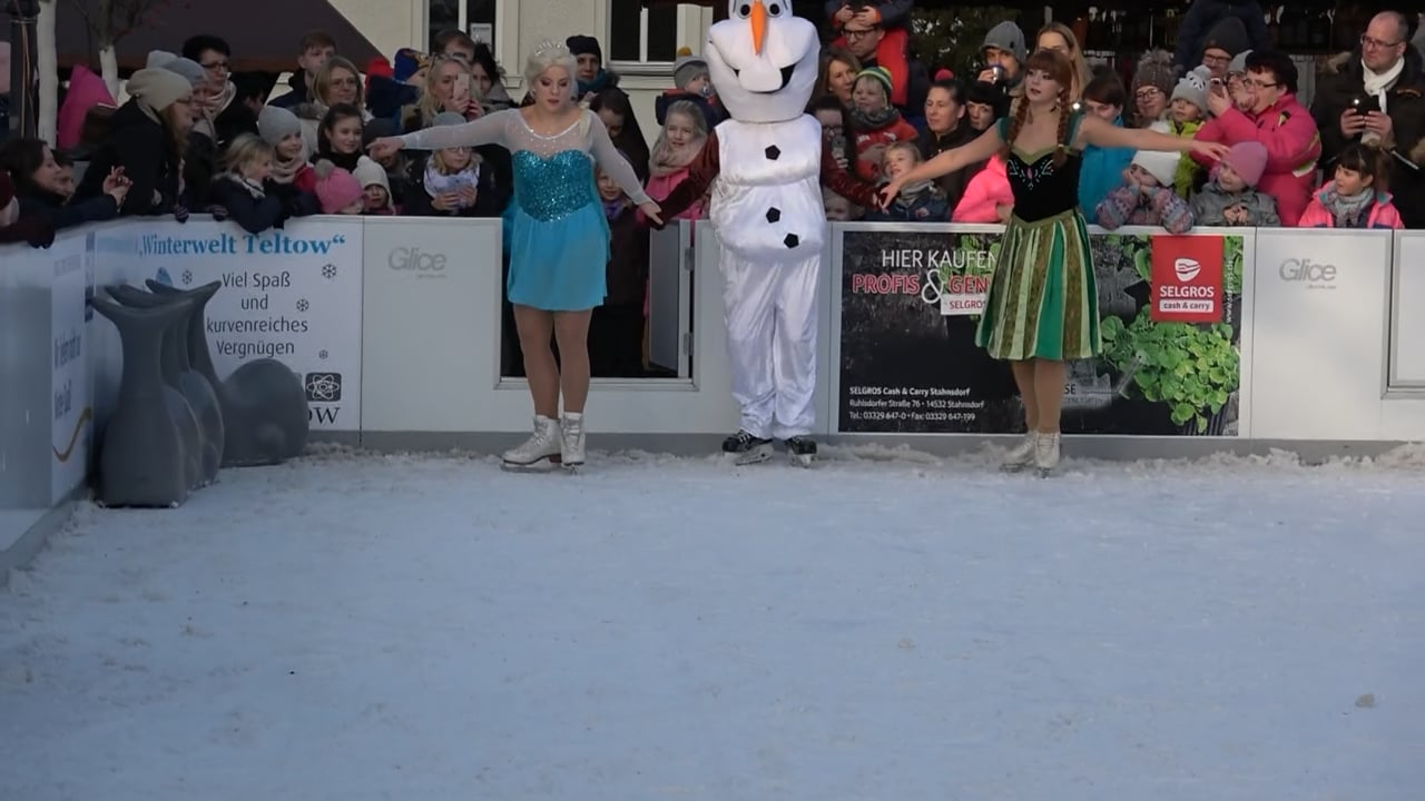 Disney's Frozen Characters Perform Figure Skating Show on Glice® Synthetic Ice Rink in Teltow, Germany
