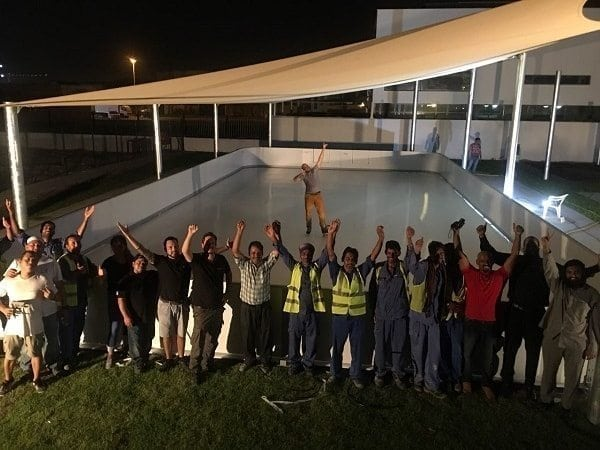 Installation of the First Glice Synthetic Ice Rink in Dubai Completed
