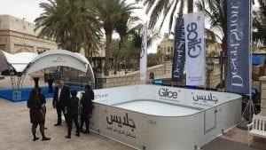 Skier dans le désert – Patinoire artificielle Glice® lors de l'exposition MESE à Dubaï