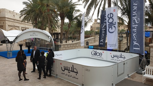 Desert Ice Skating – Glice® Synthetic Ice Rink at MESE Exhibition in Dubai