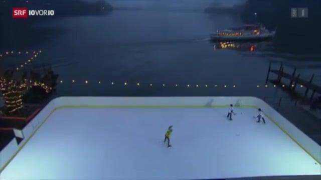 """Cobertura  de una pista de hielo artificial Glice® por el canal de noticias Suizo más popular """"10 vor 10"""""""
