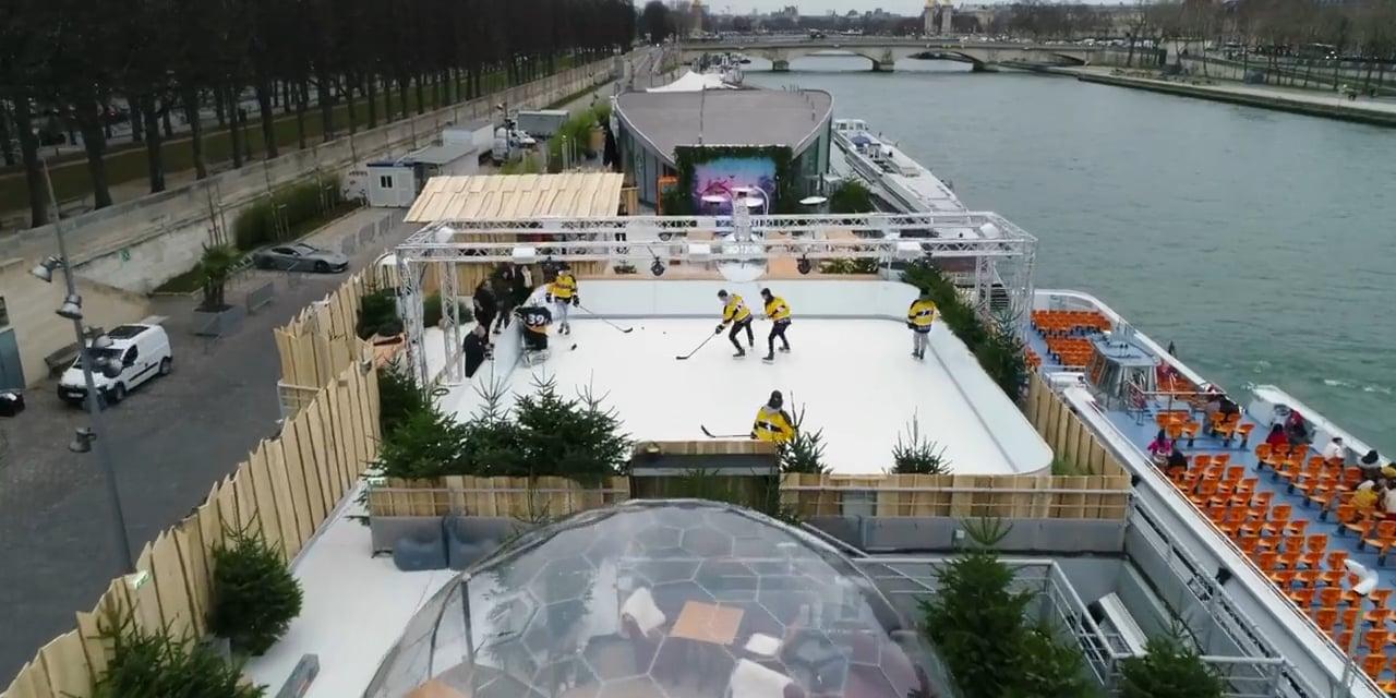 Französischer Eishockeyklub besucht Glice® synthetische Eisbahn auf der Seine in Paris