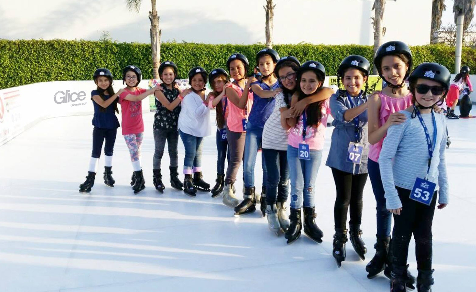 Girls on an artificial ice leisure rink in Lima, Peru