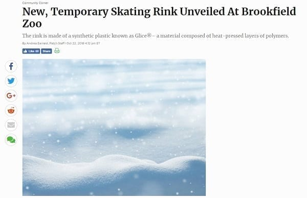 Glice® Artificial Ice Rink at Brookfield Zoo in Chicago Covered by Patch.com