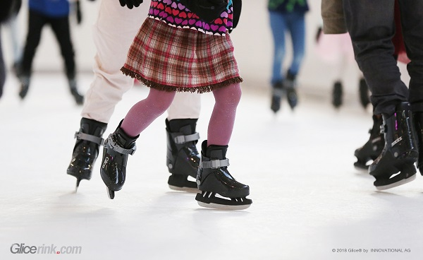 Summer Skating on Glice® Artificial Ice Rink at Westside Centre in Bern, Switzerland