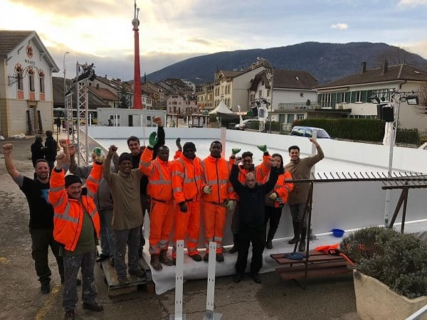Teamwork: Glice® Synthetic Ice Rink Installation in Boudry, Switzerland