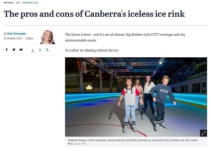 Glice syntetis i Australiens huvudstad, reportage i Canberra Times