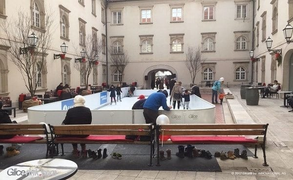 Glice® Synthetic Ice Rink with Symbolic Character in Prestigious Croatian Courtyard