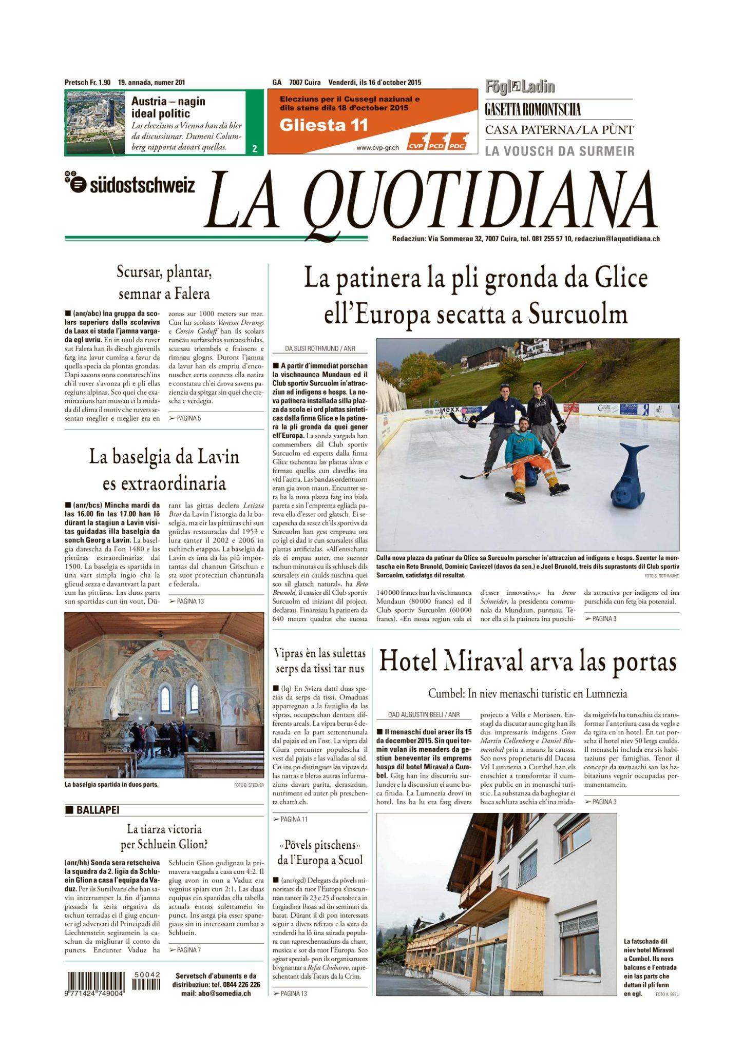 Una pista de hielo sintético Glice® mencionada en un diario Suizo dirigido a lectores de lengua retorromance