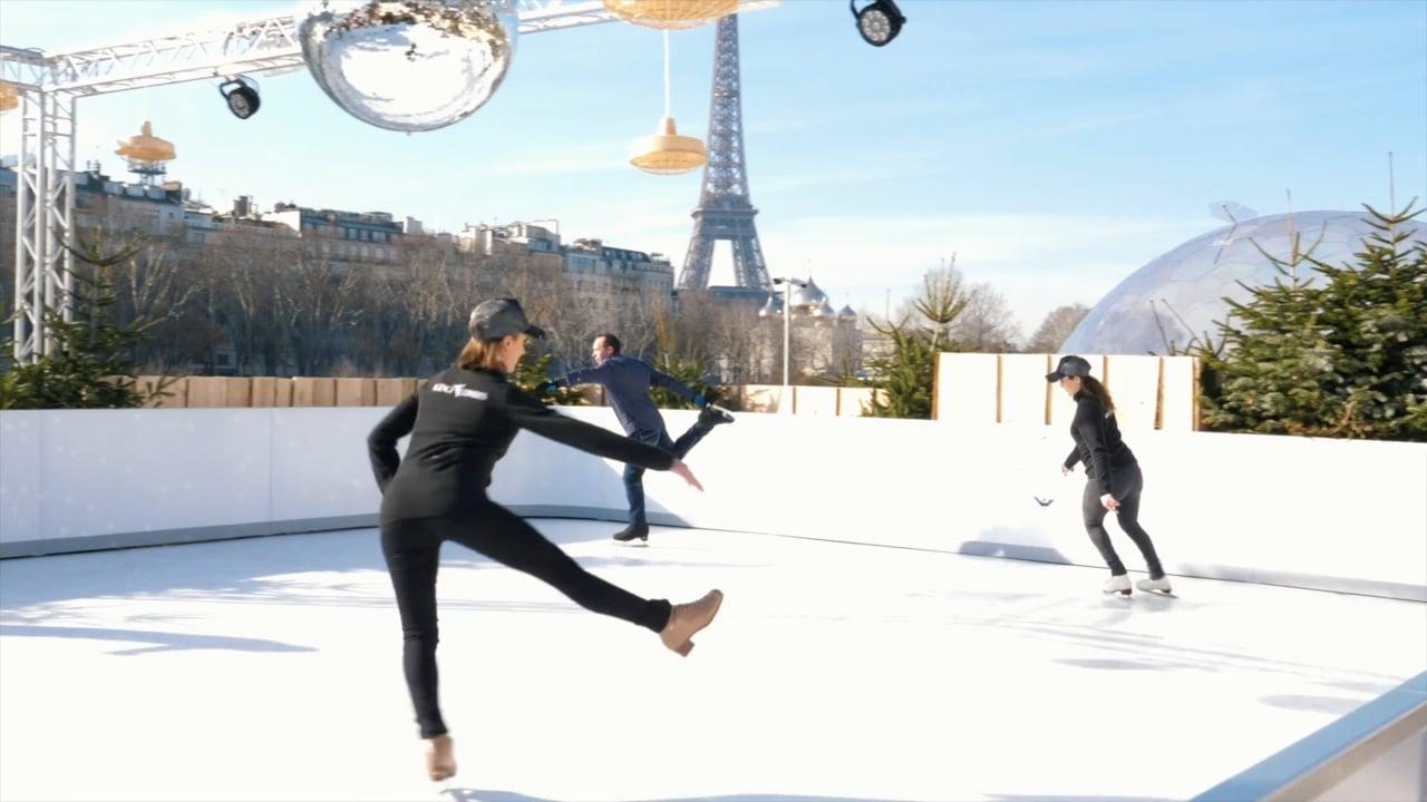 Glice® lädt Kunden ein, eine synthetische Eisbahn mit Blick auf den Eiffelturm zu testen