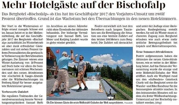 Glice® auf der Alp! Südostschweiz berichtet über Glice® synthetische Eisstockbahn am Berghotel Bischofalp