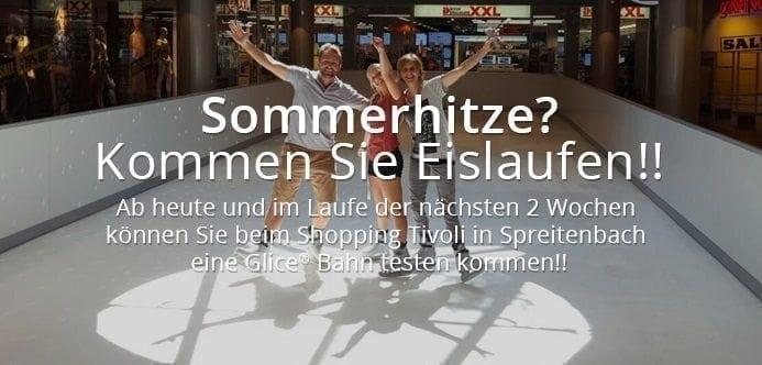 Schlittschuhlaufen im Sonnenschein: Testen Sie ein Glice® synthetisches Eisfeld im Shopping Tivoli in Spreitenbach