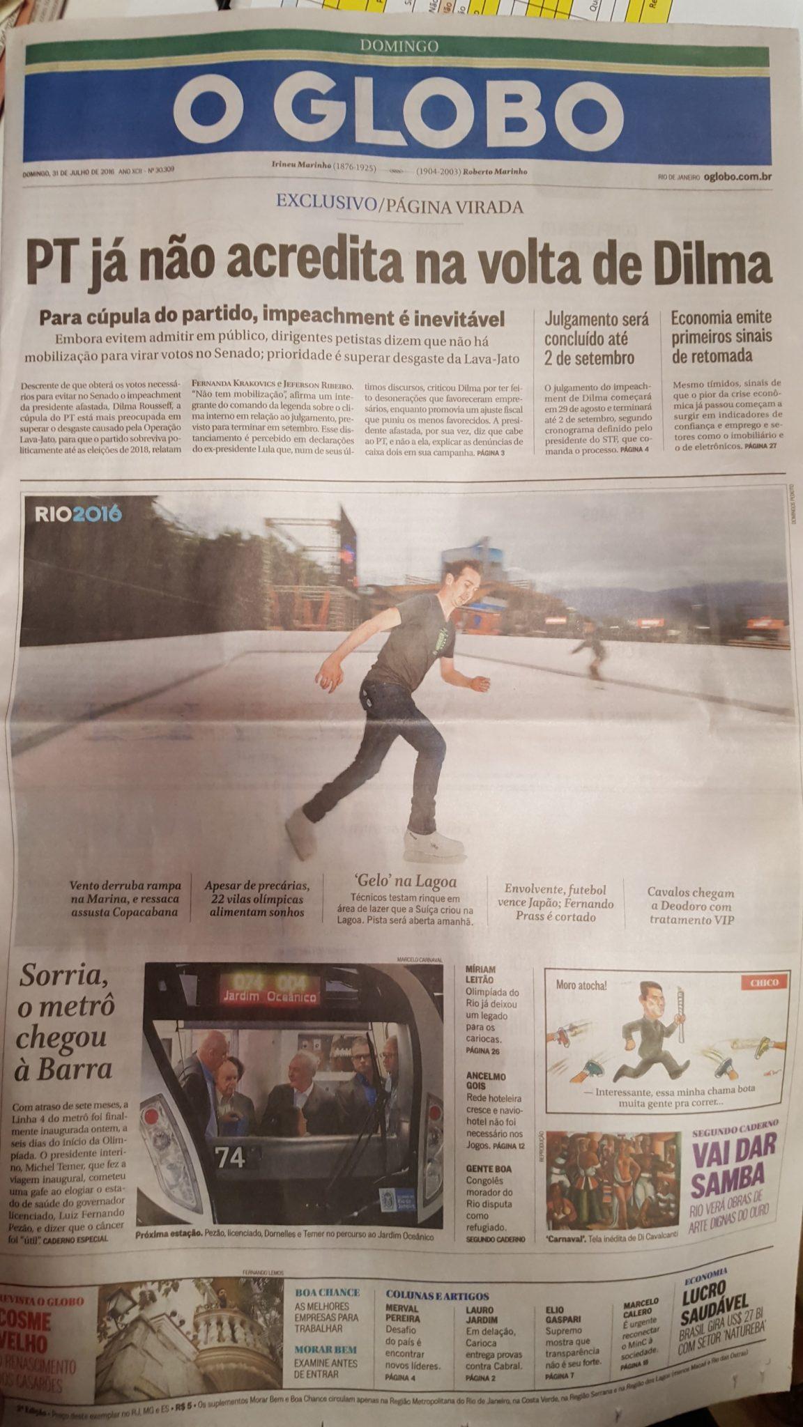 La pista de hielo ecológico Glice® ha sido mencionada en el diario Globo, el más importante de Brasil.