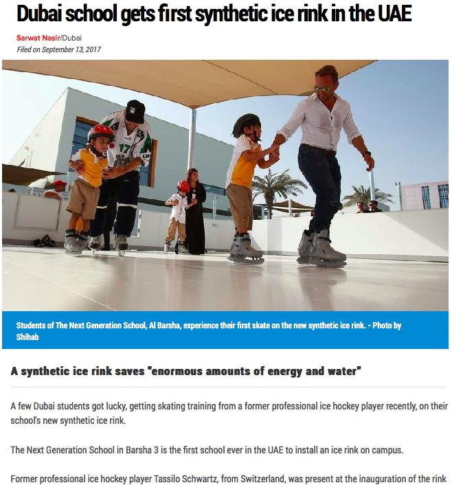 Glice® Synthetic Ice Rink in Dubai Covered by One of the Persian Gulf Area's Biggest Newspapers Khaleej Times