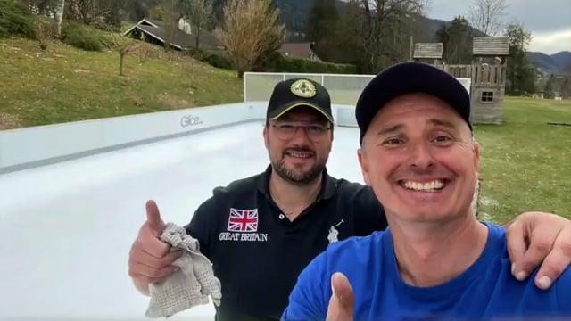 Glice Synthetic Ice Mini Arena in Swiss Backyard