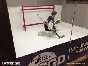 Glice synthetic ice used in Canadian ice-hockey goalie training centre 3
