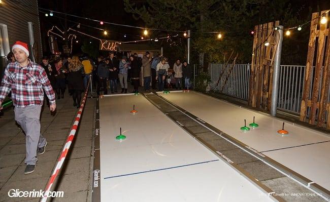 Grazie al curling tanto divertimento per lo staff dell'ospedale infantile: Glice® ha montato delle piste sintetiche Eisstock Curling a Zurigo