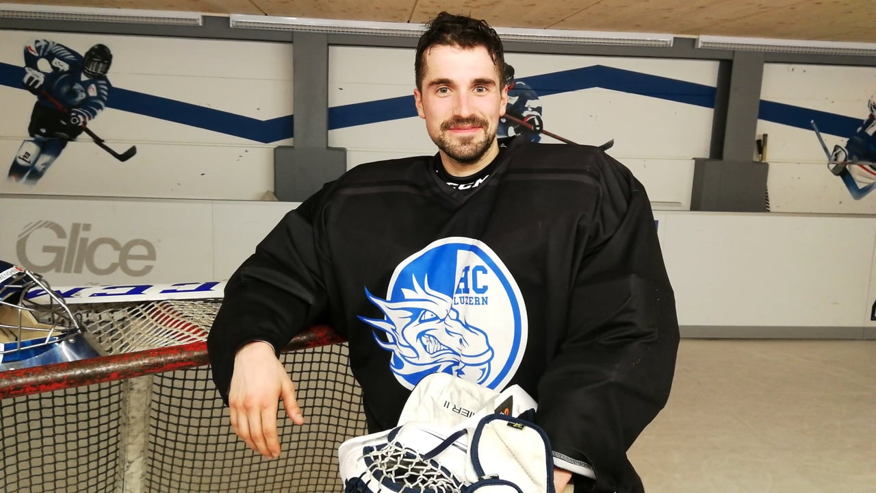 HC Luzern Goalie Gregory Keller bewertet synthetisches Kunsteis von Glice nach Tendy Drill Session