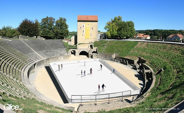 Ice Skating in a Roman Gladiator Arena: Glice® Synthetic Ice Rink in Avenches Amphitheatre
