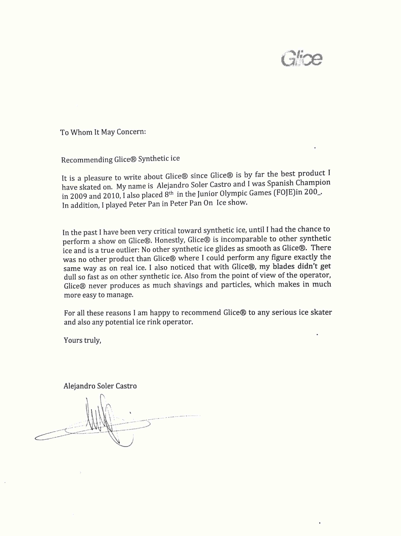Letter Alejandro Solar Castro