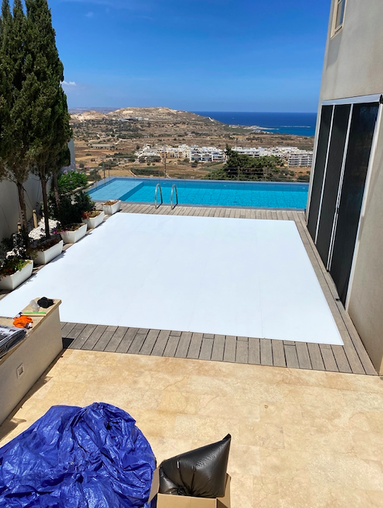 Spectacular Glice Synthetic Ice Tiles Setup with Views onto the Mediterranean Sea in Malta