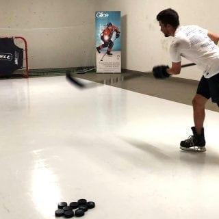 NHL Star Roman Josi practicing on synthetic ice pad