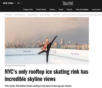 Glice Synthetic Ice Rink on NY Rooftop Covered by Time Out Magazine