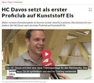 Nau.ch berichtet über Glice® Kunsteisfeld beim HC Davos