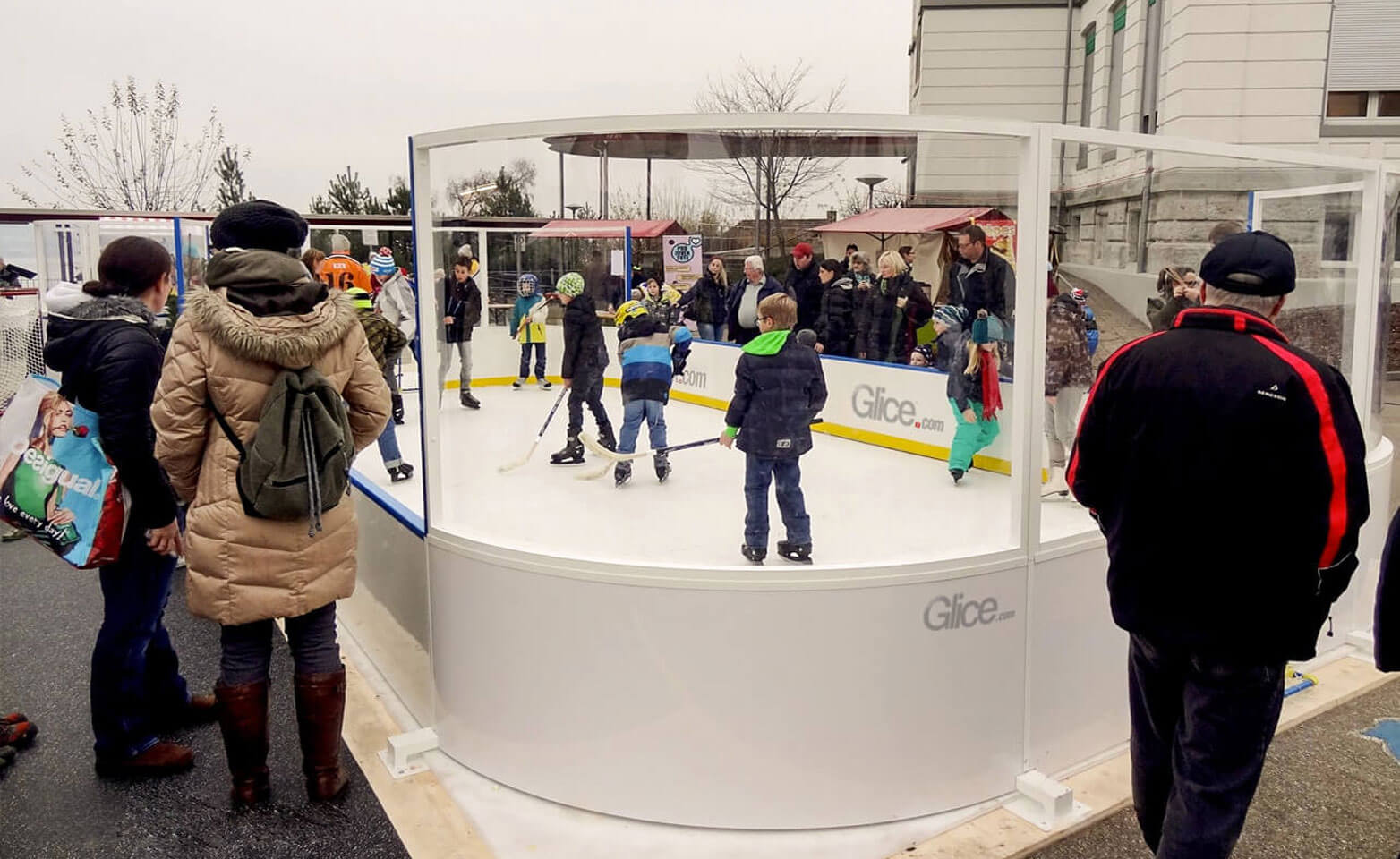 Plastic ice rink mini arena in city center