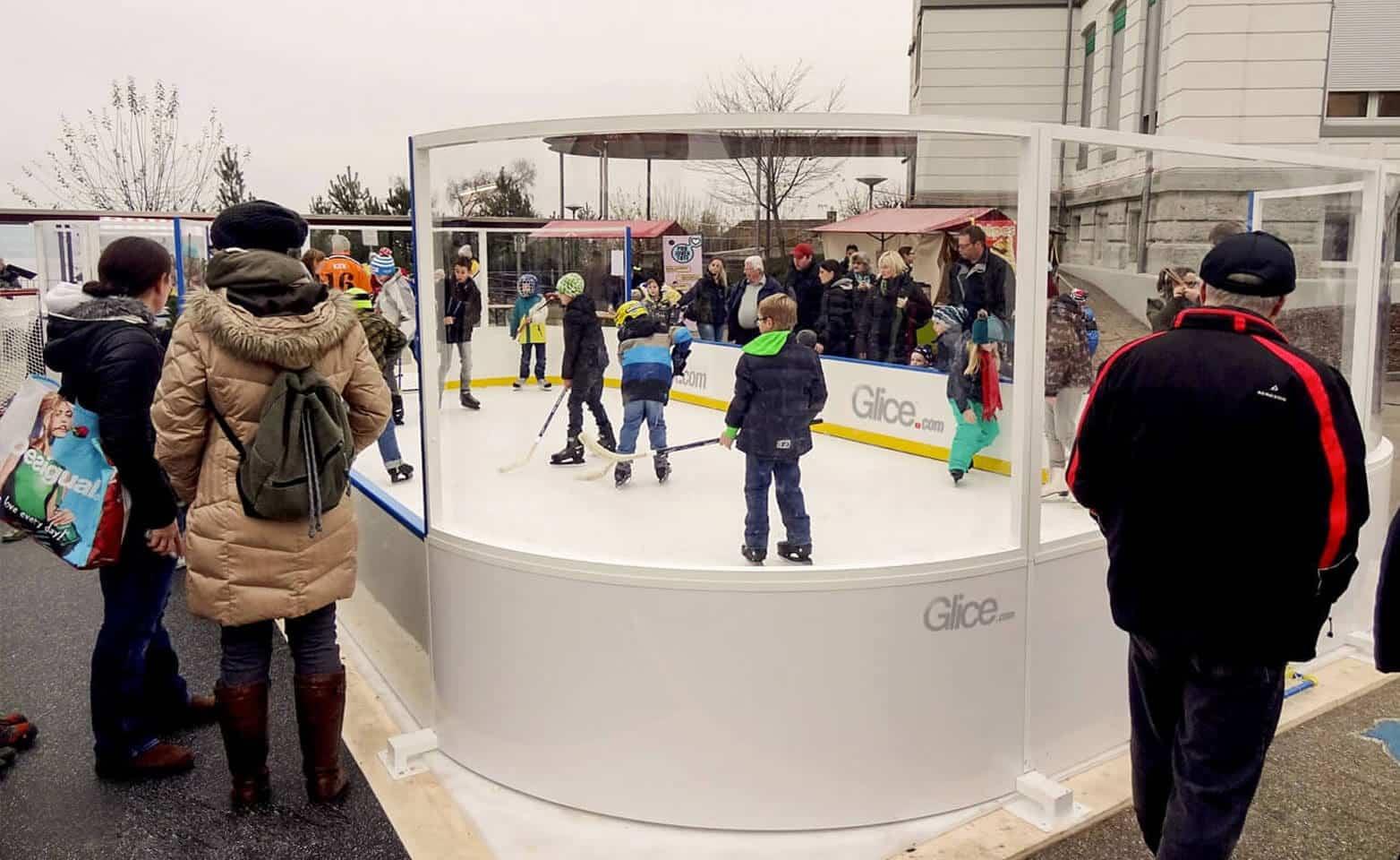 Plastic ice rink mini arena in city center