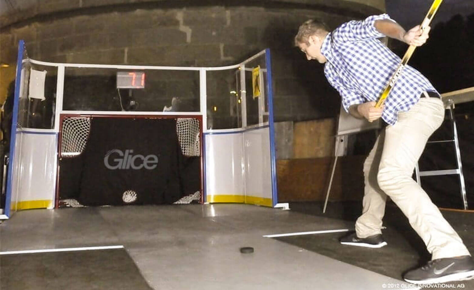 Plastic ice slapshot station shooting