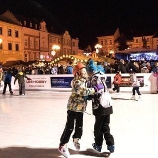 Portable plastic ice rink at Christmas market