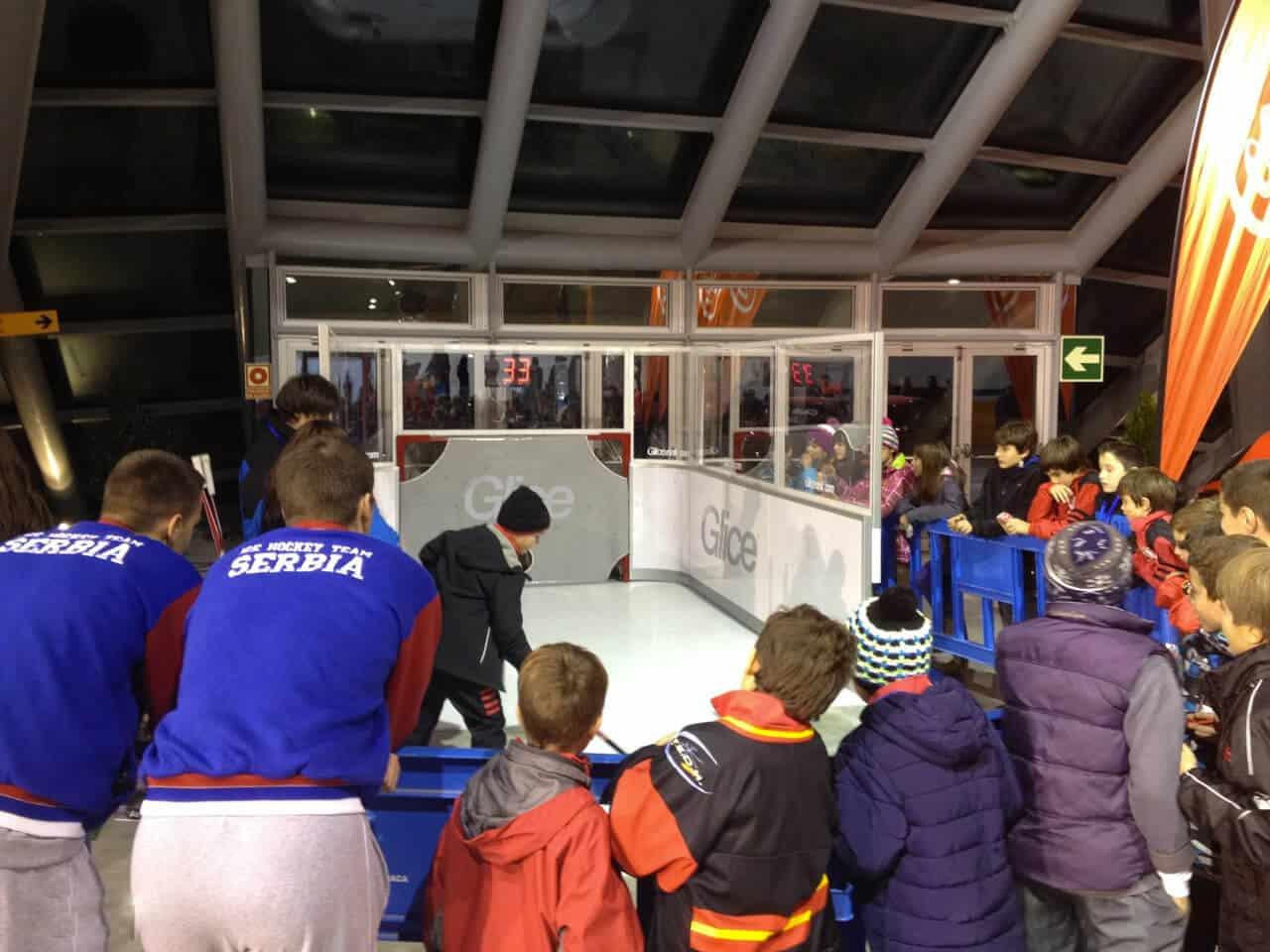 Shooting at artificial ice slapshot station