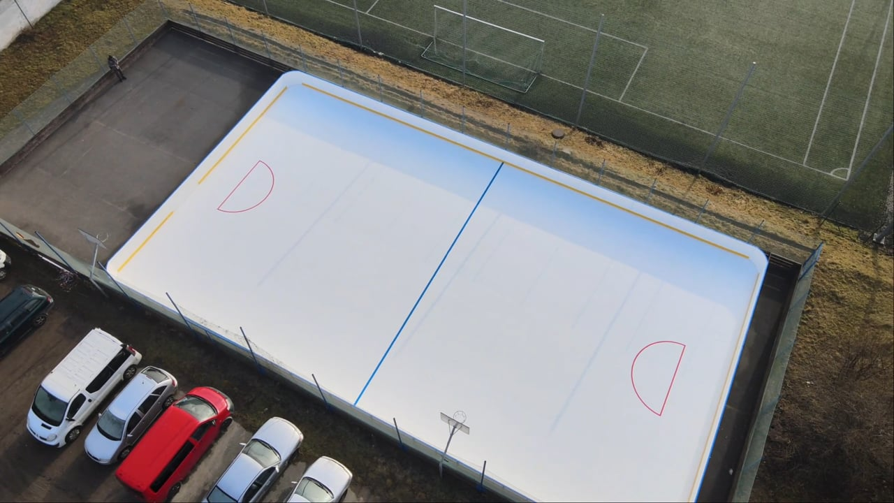 Stunning Synthetic Ice Hockey Rink with Markings Installed in Czech Republic