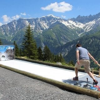 Synthetic Eisstock track at Swiss hotel
