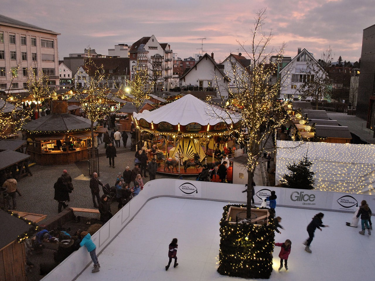 Synthetic ice rink at a German Christmas market