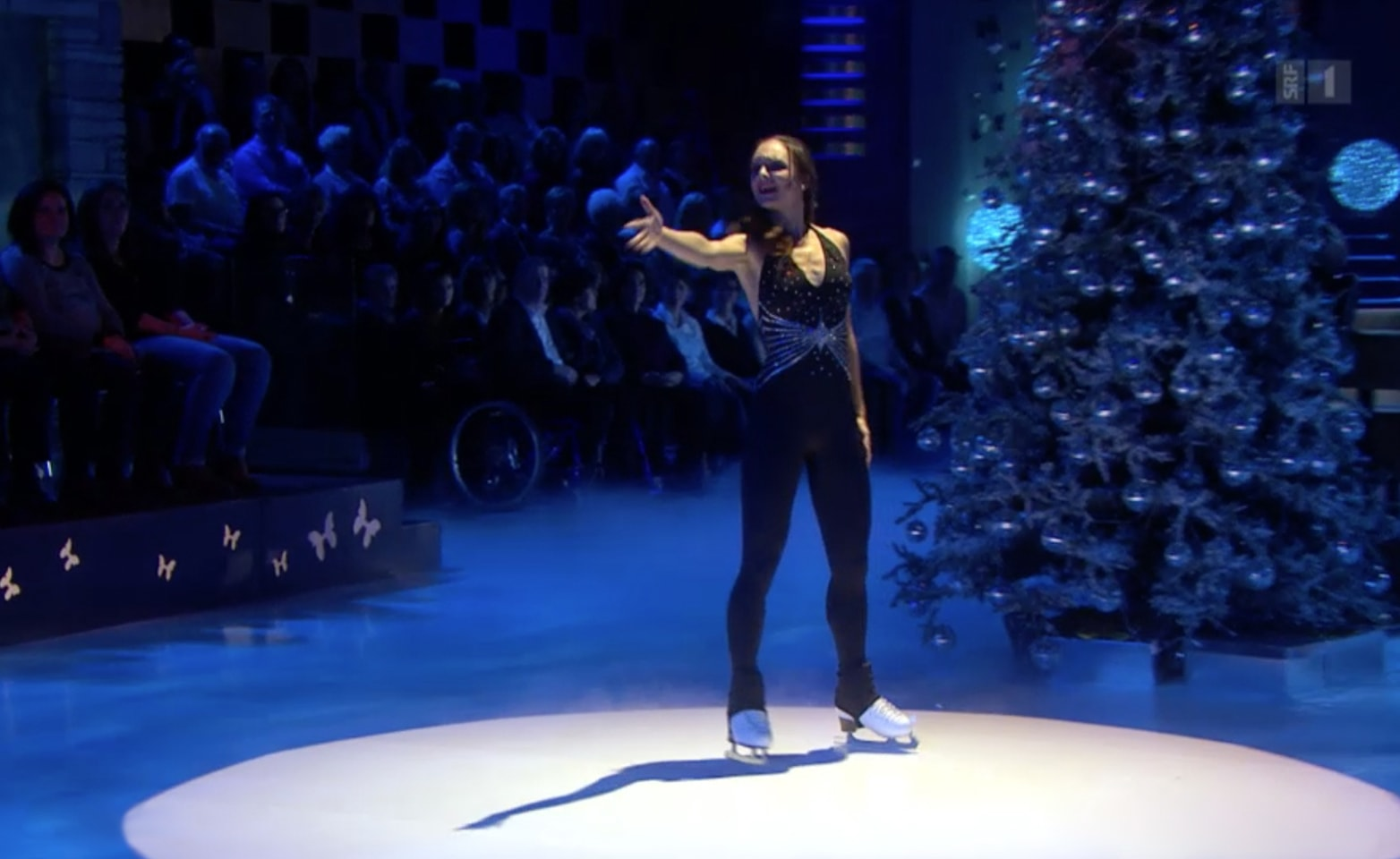 Synthetic ice rink used for figure skating performance on German TV show