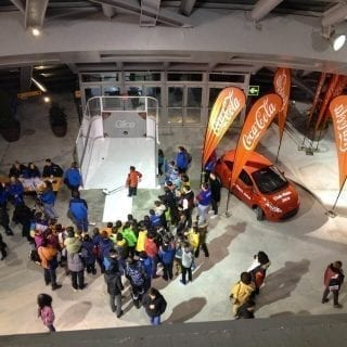 Synthetic ice slapshot station at Coca Cola event