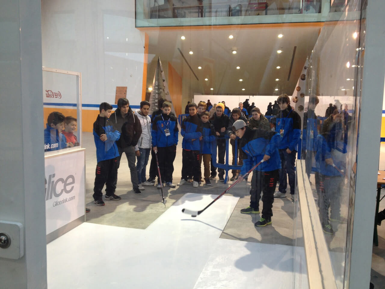 Synthetic ice slapshot station event