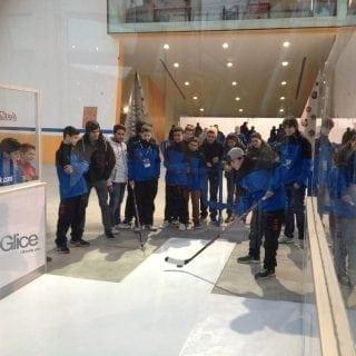 Synthetic ice slapshot station event