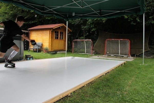 Young Talent from Switzerland Trains on Glice® Synthetic Ice Pad in His Garden